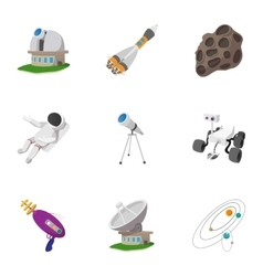 Universe icons set cartoon style vector
