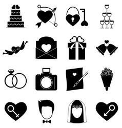 Wedding icons on white background vector image vector image