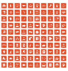 100 coherence icons set grunge orange vector