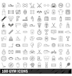 100 gym icons set outline style vector