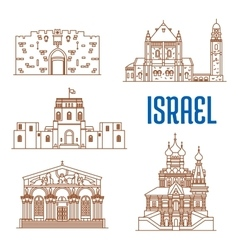 Israel architecture landmarks sightseeing vector