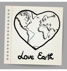 Earth love doodle vector