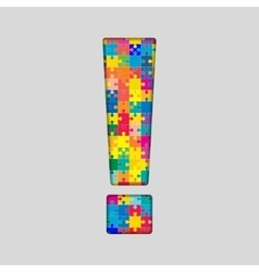 Color Puzzle - Exclamation Mark Gigsaw Piece vector image