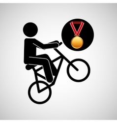 Bmx cyclist medal sport extreme graphic vector