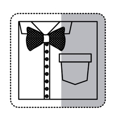 Sticker monochrome contour close up formal shirt vector