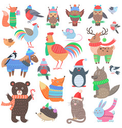 Christmas forest animals set retro fairy elements vector