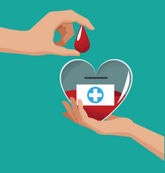 Donate blood hand holding heart drop vector