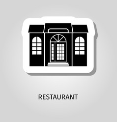 reastaurant black building sticker vector image