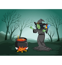 A scary witch at the forest with a pot and a bird vector image
