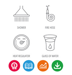 shower fire hose and heat regulator icons vector image