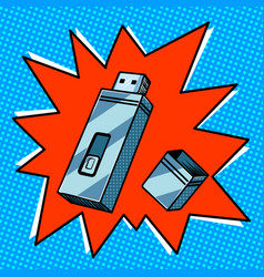 flash drive comic book style vector image