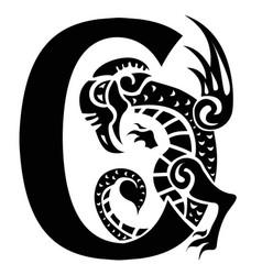 Gargoyle capital letter c vector