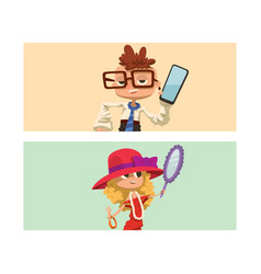 Happy boy and girl cards child young kids dressed vector