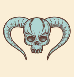 Aggressive monsters skull with horns vector