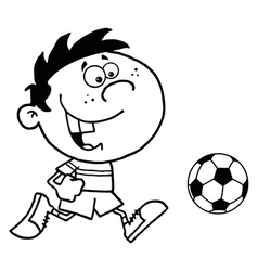 Cartoon child playing soccer vector