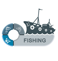 fishing trawler with infographics vector image