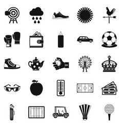 golf icons set simple style vector image