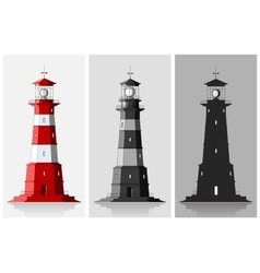 Lighthouses set of of large lighthouses over grey vector