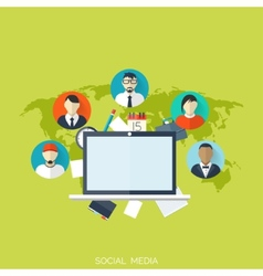 Flat social media and network concept business vector