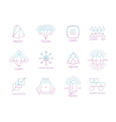 Hipster logos with geometric shapes vector