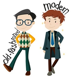Men wearing old-fashioned and modern clothes vector