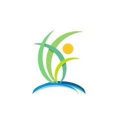 plant people wellness logo nature ecology design vector image