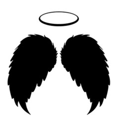 Silhouette black angel wings feathers and halo vector