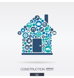 Flat icons in a house shape construction build vector