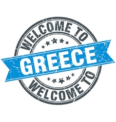 Welcome to greece blue round vintage stamp vector
