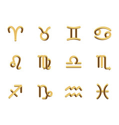 a set of the twelve signs of the zodiac gold vector image