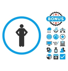 Akimbo Flat Icon with Bonus vector image