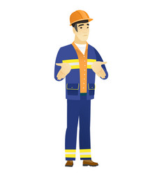 Asian confused builder shrugging shoulders vector