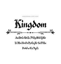 Blackletter gothic script hand-drawn font vector