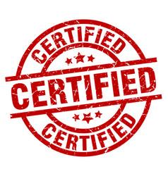 Certified round red grunge stamp vector