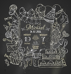 Chalk birth announcement card template on vector
