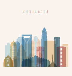 charlotte state north carolina skyline vector image