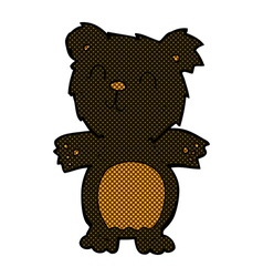 Comic cartoon cute black bear cub vector