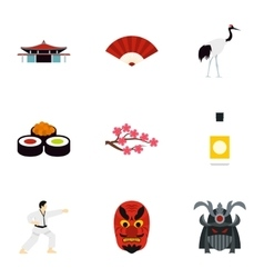 Country Japan icons set flat style vector image