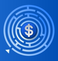 Dollar sign in the circle maze vector