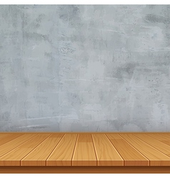 Empty room with concrete wall and wooden floor vector