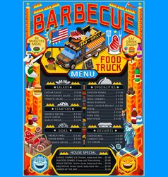 Food truck menu street food grill bbq festival vector
