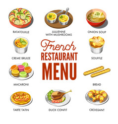French restaurant menu with traditional national vector