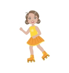 Girl roller skating outdoors vector