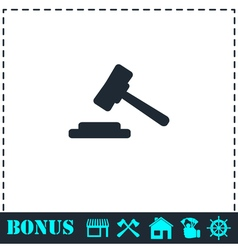 Hammer judge icon flat vector