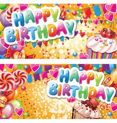 Happy birthday horizontal cards vector image vector image