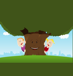 Happy kids and friendly tree vector