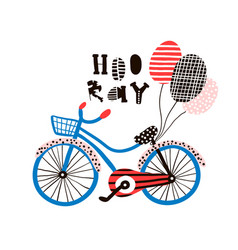 hooray greeting background with creative bike and vector image