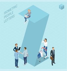 isometric letters with people vector image vector image