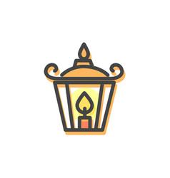 Lantern with candle christmas vector