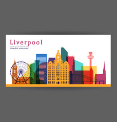 Liverpool colorful architecture vector